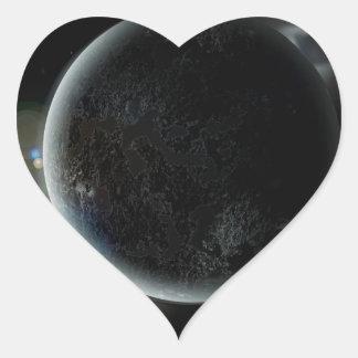 black planet 3d illustration in the universe heart sticker