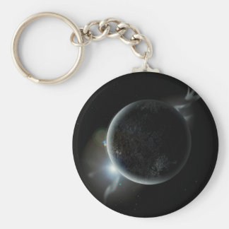black planet 3d illustration in the universe keychain