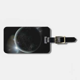 black planet 3d illustration in the universe luggage tag