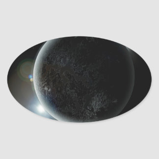 black planet 3d illustration in the universe oval sticker
