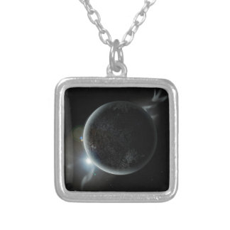 black planet 3d illustration in the universe silver plated necklace