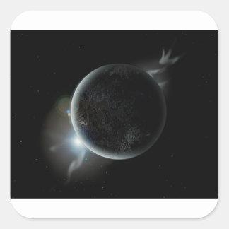 black planet 3d illustration in the universe square sticker