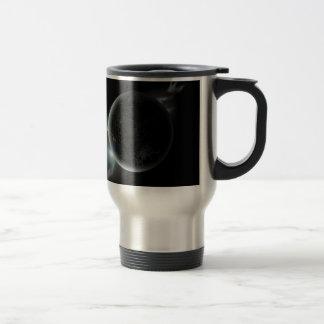 black planet 3d illustration in the universe travel mug