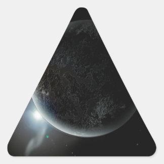 black planet 3d illustration in the universe triangle sticker