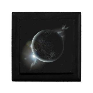 black planet 3d illustration in the universe trinket boxes