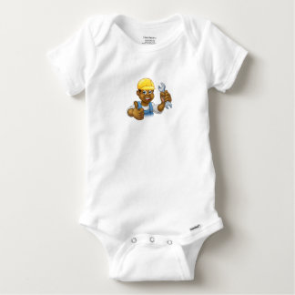 Black Plumber Mechanic or Handyman Baby Onesie