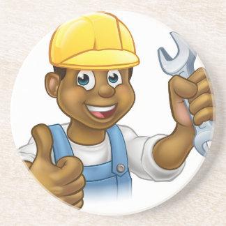 Black Plumber Mechanic or Handyman Drink Coasters