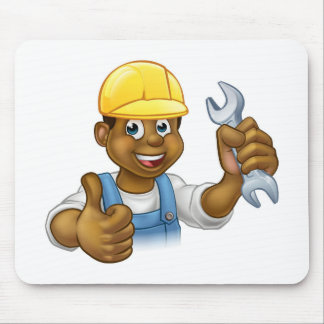 Black Plumber Mechanic or Handyman Mouse Pad