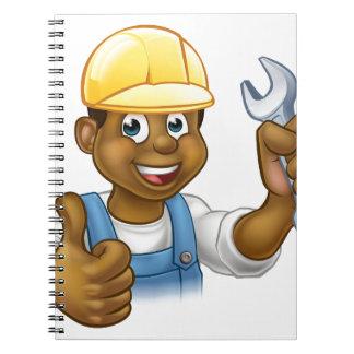Black Plumber Mechanic or Handyman Spiral Notebook