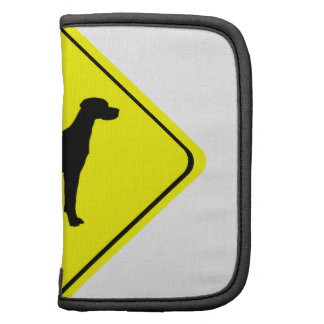 Black Pointer Dog Silhouette Caution Crossing Sign Organizers