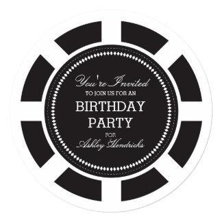 Black Poker Chip Birthday Party Invitation