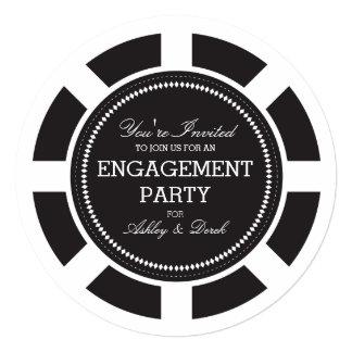 Black Poker Chip Engagement Party Invitation