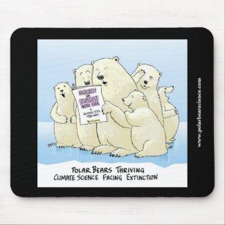 Black Polar Bear Climate Science cartoon mouse pad