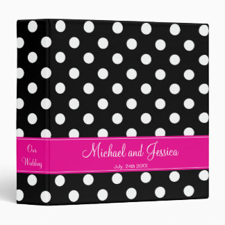 Black Polka Dot and Hot Pink Personalized Wedding Binder