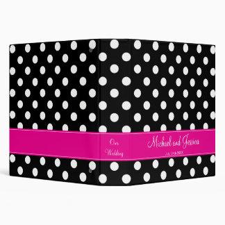 Black Polka Dot and Hot Pink Personalized Wedding Binder