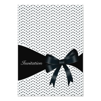 Black Polka Dot Birthday Party Personalized Announcements