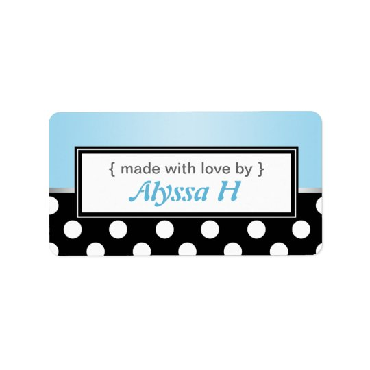 Black Polka Dot Blue Personalized Baking Labels