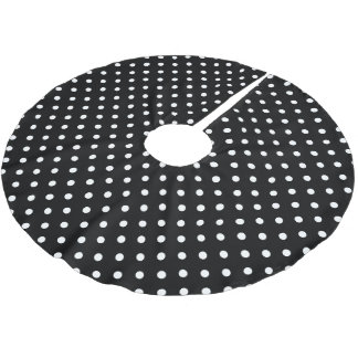 Black Polka Dot Brushed Polyester Tree Skirt