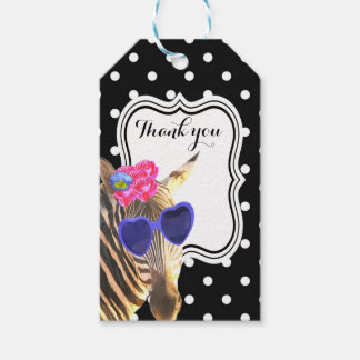 Black polka dot cute zebra jungle animal fashion gift tags