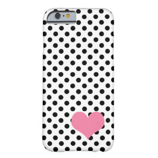 Black polka dot heart barely there iPhone 6 case