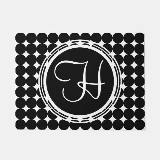 Black Polka Dot Monogram Doormat