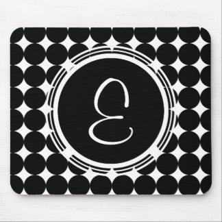 Black Polka Dot Monogram Mouse Pad