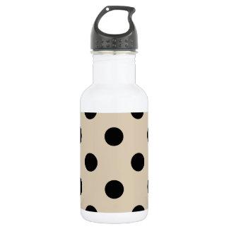 Black Polka Dot Pattern - Tan 532 Ml Water Bottle