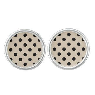 Black Polka Dot Pattern - Tan Cufflinks