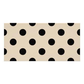 Black Polka Dot Pattern - Tan Custom Photo Card