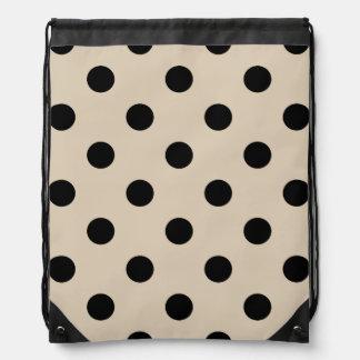 Black Polka Dot Pattern - Tan Drawstring Bag