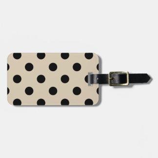 Black Polka Dot Pattern - Tan Luggage Tag