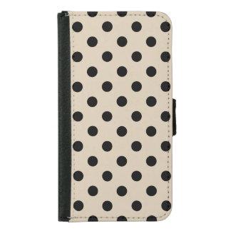 Black Polka Dot Pattern - Tan Samsung Galaxy S5 Wallet Case