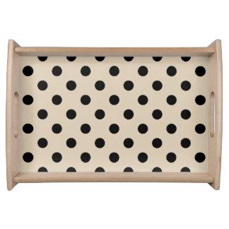 Black Polka Dot Pattern - Tan Serving Tray
