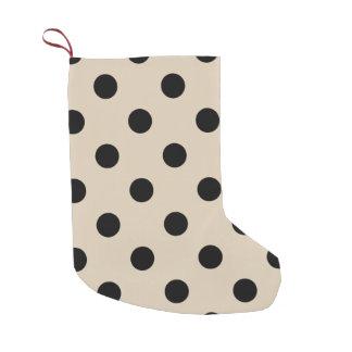 Black Polka Dot Pattern - Tan Small Christmas Stocking