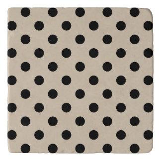 Black Polka Dot Pattern - Tan Trivet