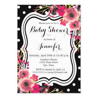 Black polka dot pink flowers chic girl baby shower card