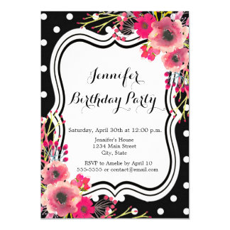 Black polka dot pink flowers chic happy birthday card