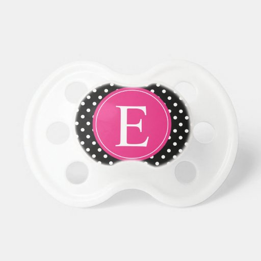 Black Polka Dot Pink Monogram Pacifier