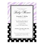 Black Polka Dot Purple Zebra Print Baby Shower Personalized Invites