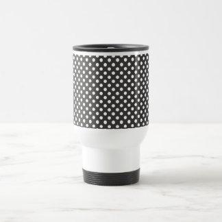 Black Polka Dot Retro Travel Mug