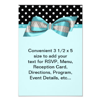 Black Polka Dot Teal Blue RSVP Template Card
