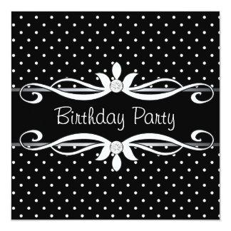 Black Polka Dot Womans Birthday Party Card