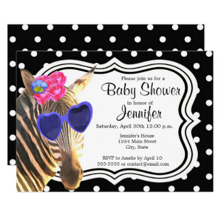 Black polka dot zebra animal modern baby shower card