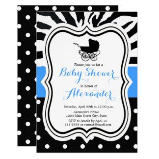 Black polka dot zebra boy baby shower invitation