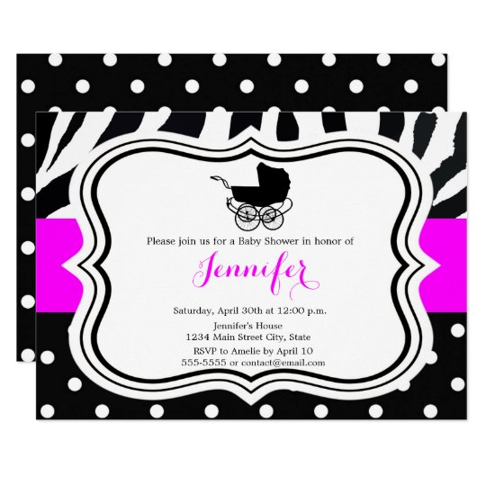 Black polka dot zebra pink girl baby shower card