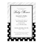 Black Polka Dot Zebra Print Baby Shower Invitation