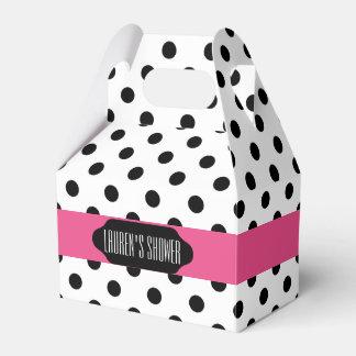 Black polka dots and pink stripe custom favor box
