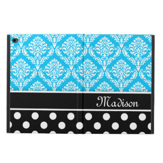 Black Polka Dots Blue Damask with Name Powis iPad Air 2 Case