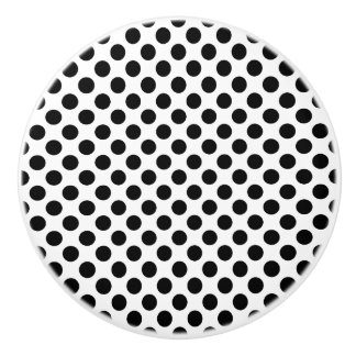 Black Polka Dots Ceramic Knob