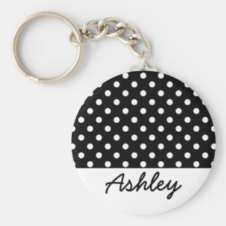Black Polka Dots Custom Monogram Basic Round Button Keychain